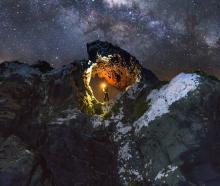 Aramoana's Bear Rock at night. Photo: Timothy Tay