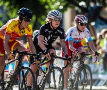 Linda Villumsen (middle), of New Zealand, in action during the Road Cycling World Championships...