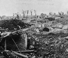 A scene of destruction on the battlefield of Beauvais. As the valiant French drive back the...