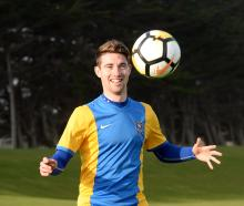 Southern United striker Garbhan Coughlan shows off his skills during a team practice at Tahuna...