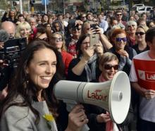 Jacinda Ardern speaks at a rally in Dunedin. Photo: ODT