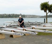 Otago Rowing Club president Tony Gomez (left) and life member Dean Winton show off the club's new...