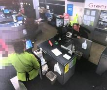 CCTV footage shows a woman (right) abusing staff at Moyle's FreshChoice in Green Island on...