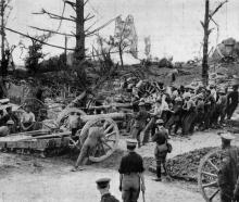 With the British Army on the Western Front: A big howitzer being manhandled into position. -...