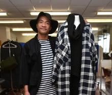 Otago Polytechnic fashion student Crichton Tahana (42) shows off some of his end-of-year designs...