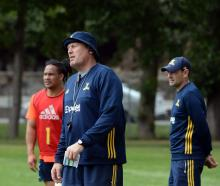 New Highlanders assistant coach Glenn Delaney at training at Logan Park this week. Photo: Linda...