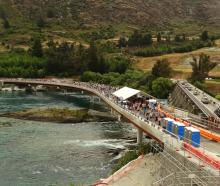 About 3000 people strolled across the new Kawarau Falls Bridge. Photo: Paul Taylor