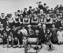 A group of bathers at the opening of the season by the St Clair Surfing and Life-saving Club. -...