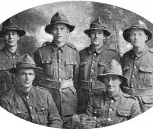 Six of our boys with the 27th Reinforcements at Amesbury, near Sling Camp, England. Standing ...