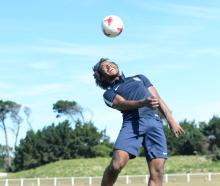 Southern United striker Omar Guardiola (23) heads the ball at Tahuna Park as he prepares for...