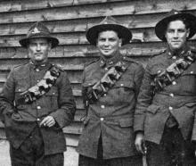 Five Dunedin boys with the artillery reinforcements at Eweshott Barracks in England, prior to...