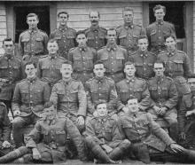 Otago and Southland boys in `A' company, 36th Reinforcements. Back row (from left): S. McNoe, M....