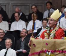 Newly ordained Catholic Bishop of Dunedin, the Most Rev Michael Dooley addresses his congregation...