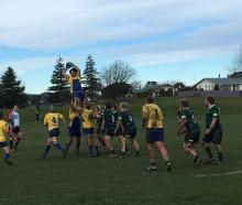 Valley and Maheno forwards contest a lineout during the North Otago club rugby game at Weston...