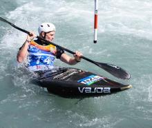 Alexandra paddler Finn Butcher in action at the canoe slalom under-23 and junior world...