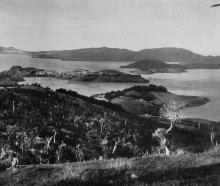 Port Chalmers, the islands and part of the lower harbour from near the Upper Junction. - Otago...