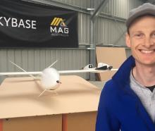 Skybase founder and chief executive Michael Read with one of the drones that can be used to send...