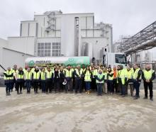 Staff at the Mataura Valley Milk plant, which began production yesterday. PHOTO: SUPPLIED