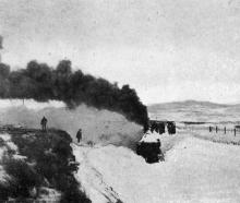 A locomotive approaching Waipiata station after passing through 15ft of snow. - Otago Witness, 14...