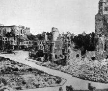 A general view of the ruins of Arras, showing the cathedral in the background. — Otago Witness,...