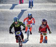 Heading around the newly renovated BMX track at Forrester Park yesterday are (from front) Brock...