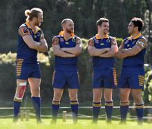 Otago players (from left) Josh Dickson, Matt Faddes, Michael Collins and captain Sam Anderson...