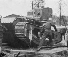 A small, fast Whippet tank of the type that has proved a terror to the Germans during the present...