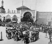 Festivities at Jaffa, on the occasion of the birthday of HRH  King George V: a military band...