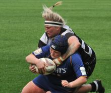 Otago Spirit prop Isla Pringle is about to go over for a try against Hawkes Bay in their Farah...