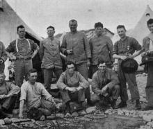 West Coast men of B Company, 50th Reinforcements, in segregation camp at Trentham. — Otago...