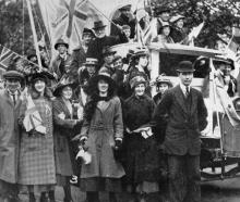 A decorated lorry in the premature celebratory procession before an armistice with Germany was...