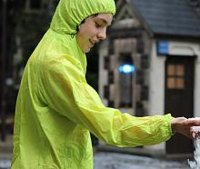 Odin Jacobs (14) handles some of the heavy hail which fell at the University of Otago in Dunedin...