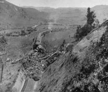 The scene of a fatal railway accident, near Mataroa, north of Taihape, on the North Island main...