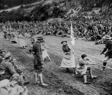 Women of the W.M.A.A.C. tug of war team competing at the New Zealand infantry base sports at the...