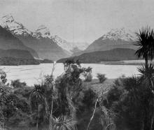 The Dart River from Paradise, showing Mt Earnslaw on the right. — Otago Witness, 18.12.1918.
