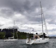 Departing Otago Harbour yesterday as their solo round-the-world voyage continues are Fanch...