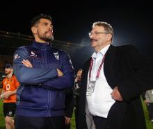 Cameron McGregor (left) chats to head coach Stephen Kearney after a late season game at Mt Smart...