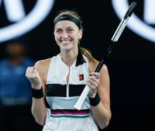 Petra Kvitova celebrates during her quarterfinal win at the Australian Open. Photo: Getty Images