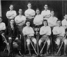 Dunedin Technical College A hockey team, winners of the Williamson Cup, 1918. Standing (from left...
