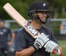 Black Caps batsman Ross Taylor during a net session yesterday. Photo by Gerard O'Brien.