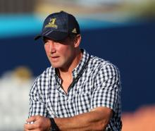 Highlanders coach Aaron Mauger before the start of the game in Hamilton last night. Photo: Getty...