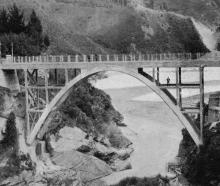 The new Arthur's Point bridge over the Shotover River, opened recently by the Hon D. H. Guthrie,...