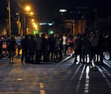 Revellers gather in Castle St on Wednesday night.