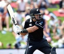 Black Caps batsman Ross Taylor hits out in his innings of 69 yesterday at the University of Otago...