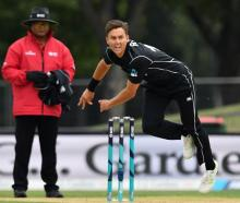 Trent Boult bowls for New Zealand against the West Indies in their recent third ODI. Photo: Getty...