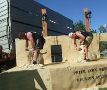 Former All Blacks Andrew Hore (left) and Ian Kirkpatrick go head to head during a speed shearing...