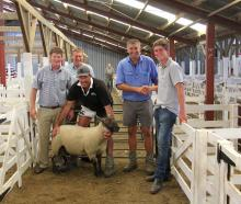 Symon Howard (left), Brent Robinson, Grant Black (holding ram), Guy Martin and Michael Robinson...