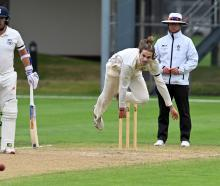 Otago fast bowler Warren Barnes sends down a delivery during a Plunket Shield match against...