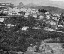 A rising suburb of Dunedin: Dalmore, from Maori Hill, showing a portion of Woodhaugh Gardens in...