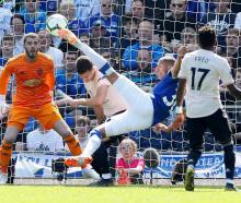 Everton's Richarlison scores their first goal. Photo: Action Images via Reuters